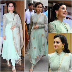 Yay or Nay : Dia Mirza in Shyamal and Bhumika Indian Gowns, Indian Attire, Pakistani Dresses, Indian Wear, Indian Wedding Outfits, Indian Outfits, Indian Clothes, Shyamal And Bhumika, Indian Designer Suits