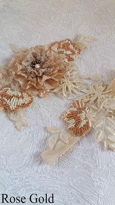 Shabby wedding garter set Ivory garter White wedding garter
