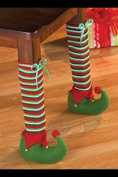 Christmas elf table legs are a fun  way to celebrate the season!