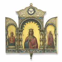 olga nicholaevna: an important russian gilded silver and enamel icon triptych, ovchinnikov, moscow, 1895 | lot | Sotheby's