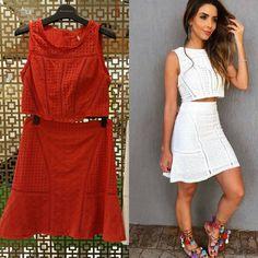 Conjunto cropped lindo!!!   Disponível na cor vermelha Hoje Bela Donna até 18h! Mais informações 17 99762-8877  #beladonna #cropped #conjunto #moda