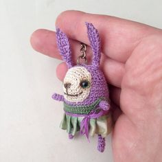 Mini crochet lilac bunny with green dress keychain от LozArts