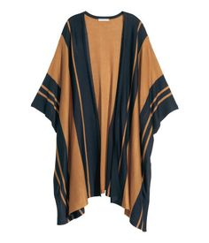 H&M sweater Worn once! Fine-knit cardigan in a wide, oversized straight style with slits at sides and no buttons. Color is camel & navy. Sz xs/s H&M Sweaters Shrugs & Ponchos Pull Poncho, Poncho Sweater, Cardigan Sweaters For Women, Cardigans For Women, Poncho Shawl, Striped Cardigan, Black Cardigan, Long Cardigan, Fall Fashion 2016