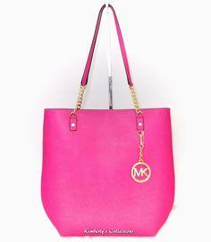 4804d1b3fc7ef MICHAEL KORS Jet Set Chain Pink Saffiano Leather Shoulder Bag Purse NWT