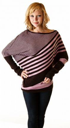 bold stripe, thin stripe poncho with sleeves