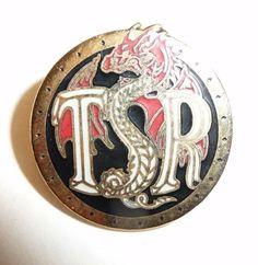 RARE - TSR Dragon Logo Round Metal Pin - Dungeons & Dragons D&D TSR Inc