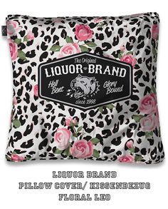 Liquor Brand Kissenbezug/ Pillow Cover Floral Leo.Tattoo,Biker, Pin up Styles