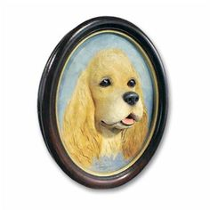 Hand Painted 3 Dimensional Cold Cast Stone Resin Cocker Spaniel Blonde Portrait