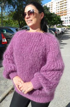 Hand Knitted Long hair Mohair Purple Lilac Sweater Pullover by LanaKnittings Hand Knitted Sweaters, Mohair Sweater, Purple Lilac, Pullover, Sweater Outfits, Hand Knitting, Long Hair Styles, Unique, Beautiful