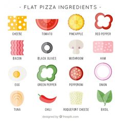 Flat ingredients for pizza Free Vector Pizza Art, Pizza Menu, Restaurant Identity, Restaurant Menu Design, Pizza Project, Diy For Kids, Crafts For Kids, Kindergarten Art Lessons, Early Education