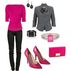 Its professional and cute. Idk about the skinny pants though but with regular black pants i'd wear it Pink Shoes Outfit, Black And Grey Outfits, Pretty Outfits, Cute Outfits, Winter Outfits, Winter Clothes, Fashion Plates, Get Dressed, Clothes For Women