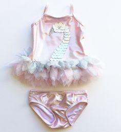 Kate Mack Shimmering Swan Infant 2-piece Swimsuit