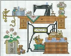 Sewing Room in cross stitch completed item by FamilyTreeStitchery Counted Cross Stitch Patterns, Cross Stitch Charts, Cross Stitch Designs, Cross Stitch Embroidery, Embroidery Patterns, Bordado Tipo Chicken Scratch, Fabric Embellishment, Pixel Pattern, Cross Stitch Needles