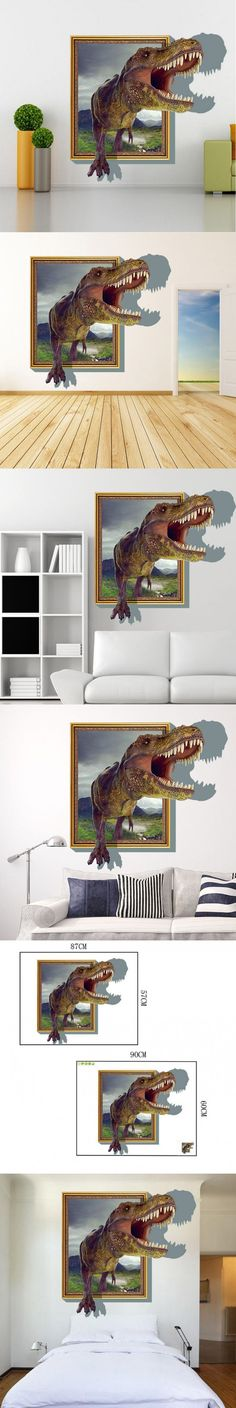Creative Cartoon Wall Stick Dinosaurs 3D Wall Stickers Living Room Bedroom Adornment For Kids Room Christmas Gift HOME Decor