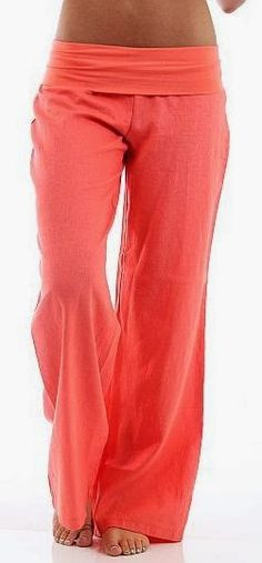 Cute coral fold over linen pants fashion style