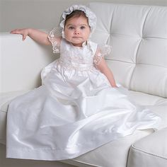 Scarlett 1 Piece Silk Christening Gown (Girl) | Heirloom Baptism Outfits & Dresses