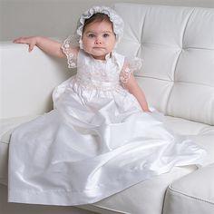 Scarlett 1 Piece Silk Christening Gown (Girl) | Heirloom Baptism Outfits & Dresses  Her christening dress <3