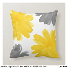 Shop Yellow Gray Watercolor Flowers Throw Pillow created by MartiGambaArt. Personalize it with photos & text or purchase as is! Floral Throws, Floral Pillows, Custom Pillows, Decorative Throw Pillows, Grey And Yellow Living Room, Yellow And Gray Bedding, Gray Yellow, Grey Pillows, Yellow Throw Pillows