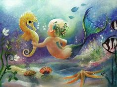 Baby seahorse and mer-baby