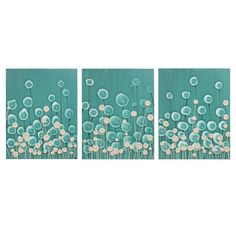 Large Modern Art - Teal and Brown Painting Home Decor - Textured Flower Canvas Wall Art Triptych 50X20