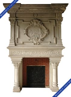 An exceptional Neo-Renaissance fireplace from the Chateau of Montgeon, Le Havre. Attributed to the decorator of the Biencourt Salon at the Chateau of Azay-le-Rideau, Edmond Lechevallier-Chevignard. Fireplace Design, Fireplace Mantels, Making Charcoal, Architecture Classique, Saint Roch, Trumeau, Stone Mantel, Francis I, Dark House