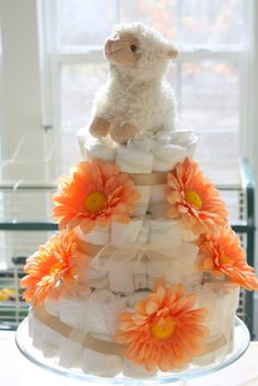 Diaper cake with Lilies and a monkey