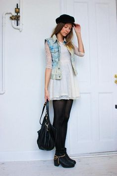 Shop this look on Kaleidoscope (dress, vest, bootie)  http://kalei.do/WUOpxTqUhT1vVJEt