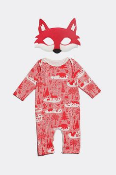 DIY Mr. Fox Baby Costume | Winter Water Factory organic jumper from Noble Carriage + handmade fox mask from Etsy