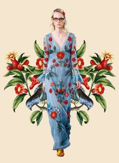 Miss Moss: Botanical Resort. Colour Mash Ups of Resort 2016 x Vintage Botanical Illustrations Gucci. Foto Fashion, Fashion Art, Fashion Design, Mode Collage, Luxe Clothing, Botanical Fashion, Flower Collage, Miss Moss, Hippy Chic