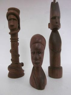 3 Vintage African Folk Art Carved Wood Snake Man Woman Figurine Bust Idols   eBay