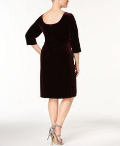 ef32354027c Alex Evenings Plus Size Velvet Draped Brooch Dress   Reviews - Dresses -  Women - Macy s