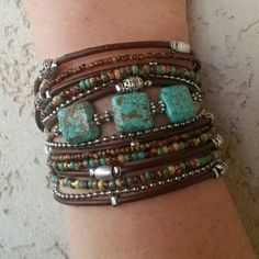 Boho Multi Strand Leather Wrap Bracelet Turquoise by DesignsbyNoa pandora jewelry Unique Wrap Bracelet - Best Turquoise Bracelet - Modern Rustic Wrap - Best Womans Bracelet -BurningMan Style - Best Friend Wrap Bohemian Jewelry, Beaded Jewelry, Handmade Jewelry, Beaded Bracelets, Luxury Jewelry, Dread Jewelry, Prom Jewelry, Recycled Jewelry, Bohemian Bracelets