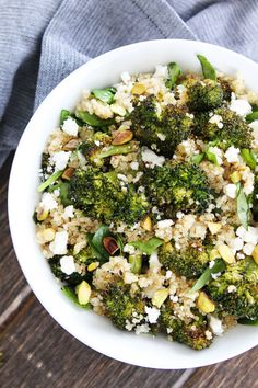 Roasted Broccoli Quinoa Salad Recipe on twopeasandtheirpod.com This easy and healthy salad is great for lunch or dinner! Add it to your menu today!