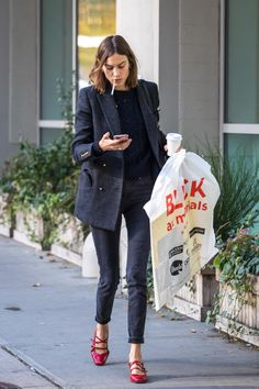 Alexa Chung | @andwhatelse The shoes and double breasted jacket