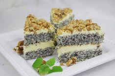 Makový koláč s vanilkovým krémom Krispie Treats, Rice Krispies, Cake Recept, Tiramisu, Sushi, Bakery, Food And Drink, Sweets, Ethnic Recipes