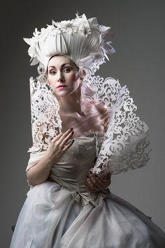 Russian artist Asya Kozina creates elegant baroque wigs and dresses from paper.