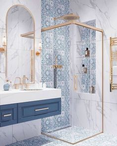 Home is the safe place you feel, and the bathroom can relax you. If you don't feel relaxed at home, it must be a problem with the bathroom design. interior Dream bathroom decor ideas get yours – Dream Bathrooms, Beautiful Bathrooms, Small Bathroom, Bathroom Wall, Bling Bathroom, 1950s Bathroom, White Bathroom, Modern Bathroom, Disney Bathroom