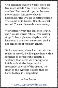 The Importance of Varying Sentence Length. We're supposed to understand how to control the pacing of a story and why that's important, but pacing also exists in the flow of the sentences, the structure of each paragraph. Not just in the way the tale unfolds. A story requires as much rhythm, beat, and flow as a song.