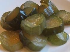 Sweet Pickles Recipe - I pinned this one because the picture looks like my grandmas pickles I used to love.