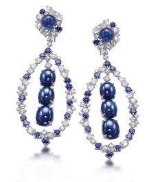 B.A. Gold cabochon sapphire drop earrings
