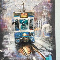 Так полюбившийся всем трамвайчик Да, да, у меня он тоже есть И он тоже лежал у меня с прошлой зимы и ждал, когда я его закончу Работа выполнена в #artstudioetatkina. Лена @elenatatkina, спасибо тебе за твои вдохновляющие работы #пастель #наждачка #рисуюпастелью #снег #зима #softpastel #softpastels #winter #snow #pastelpainting
