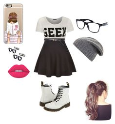 NERD LIFE☺ by elainia on Polyvore featuring polyvore fashion style WearAll New Look Dr. Martens Casetify BCBGMAXAZRIA Cufflinks, Inc. Lime Crime Retrò clothing