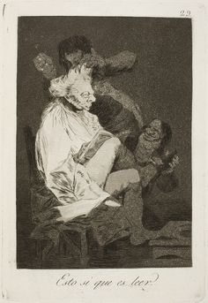 "Francisco de Goya: ""Esto si que es leer"". Serie ""Los caprichos"" [29]. Etching, aquatint and drypoint on paper, 214 x 146 mm, 1797-99. Museo Nacional del Prado, Madrid, Spain"