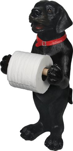 This black lab standing toilet paper holder is perfect for your black lab home decor or dog bathroom decor. A great gift for the hunter. Toliet Paper Holder, Unique Toilet Paper Holder, Dog Bathroom, Bathrooms, Bathroom Stuff, Black Labrador, Tissue Holders, Paper Holders, Best Friend Gifts