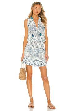 Poupette St Barth Clara Mini Dress in Blue Parrot Batik Rombo | REVOLVE Dressy Dresses, Blue Dresses, Funky Fashion, Daffodils, Boho Chic, Feminine, Cannes France, How To Wear, Catamaran