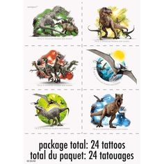 Monde Jurassiqe - Feuilles de Tatouages 4/pqt