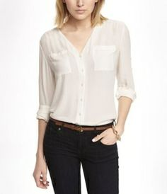 Express V-Neck Convertible Sleeve Blouse // Hukk to find out when it goes on sale! #hukkster @Express #womensfashion