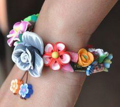 GARDEN  Polymer Clay Flowers Bracelet