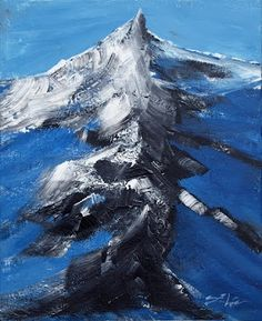 """MOUNTAIN IN BLUE Acrylic on canvas, textured painting, 40cm x 50cm/15,7"""" x 19.7"""" by Lidija Ivanek"""