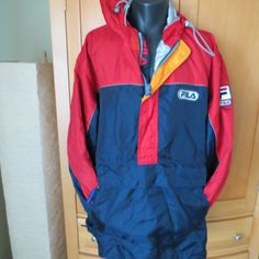 VTG Fila Parka  XL Red Navy 90's Nylon  Anorak Hooded Pullover Ski Boating #Fila #Parka